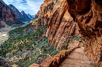 Angels Landing Trail From High Above Zion Canyon Floor Poster