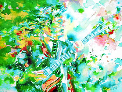 Angus Young Playing The Guitar - Watercolor Portrait Poster by Fabrizio Cassetta