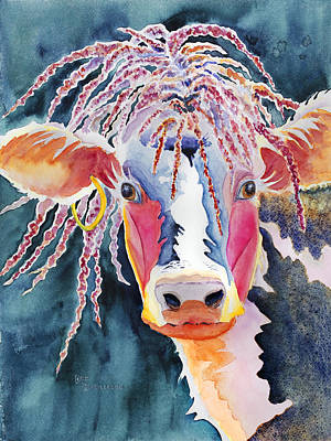 Animal - Cow - Cowabonga Poster by Deb  Harclerode