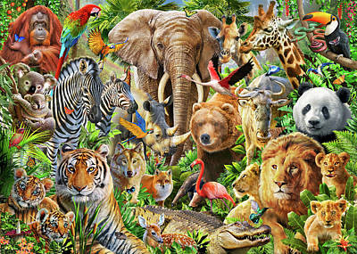 Poster featuring the drawing Animal Mix by Adiran Chesterman