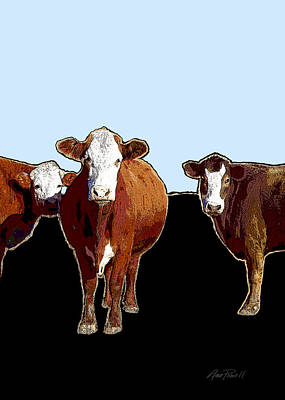 Animals Cows Three Pop Art With Blue Poster by Ann Powell