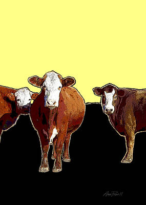 Animals Cows Three Pop Art With Yellow  Poster by Ann Powell