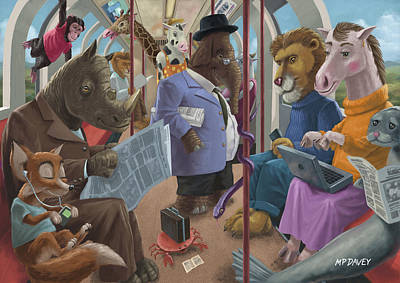 Animals On A Tube Train Subway Commute To Work Poster by Martin Davey