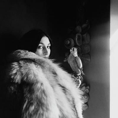 Anjelica Huston Wearing A Fur Coat Poster by Arnaud de Rosnay