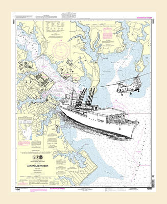 Annapolis Harbor Transport Ship Chopper Poster