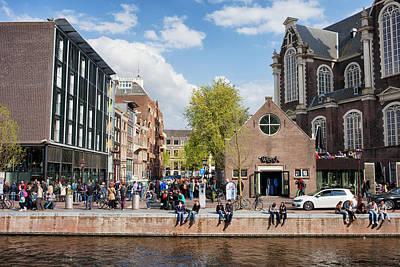 Anne Frank House And Westerkerk In Amsterdam Poster by Artur Bogacki