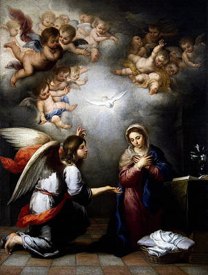 Poster featuring the digital art Annunciation by Esteban Murillo