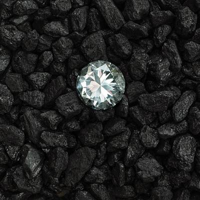 Anthracite And Diamond Poster by Science Photo Library