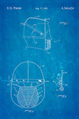 Anti Eating Mask Patent Art 1982 Blueprint Poster by Ian Monk