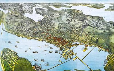 Antique 1891 Seattle Map Poster by Dan Sproul