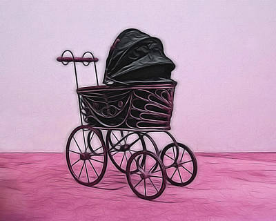 Antique Baby Carriage Digital Art Poster by Ernie Echols