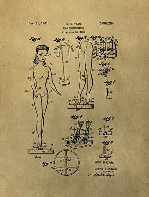Antique Barbie Doll Patent Poster