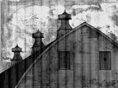 Antique Barn - Black And White Poster