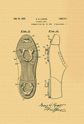 Antique Baseball Cleats Patent - 1932 Poster by Mountain Dreams