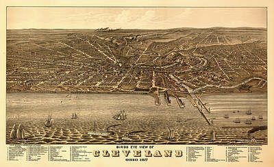 Antique Bird's-eye View Map Of Cleveland 1877 Poster
