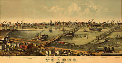 Antique Bird's-eye View Map Of Toledo Ohio 1876 Poster