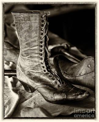 Antique Boot Sepia Poster