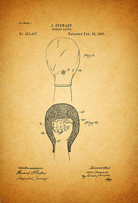 Antique Boxing Glove Patent 1890 Poster by Mountain Dreams