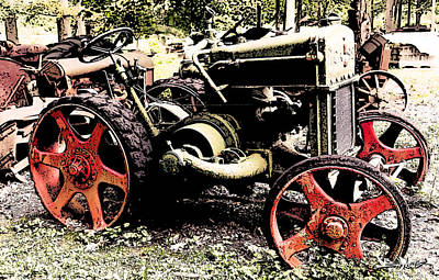 Antique Case Tractor Red Wheels Poster by Michael Spano