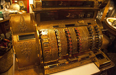 Poster featuring the photograph Antique Cash Register by Jerry Cowart