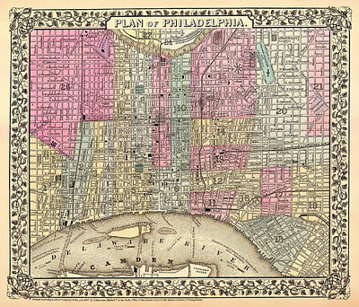 Antique City Map Of Philadelphia 1867 Poster by Mountain Dreams