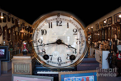 Poster featuring the photograph Antique Clock Store by Gunter Nezhoda