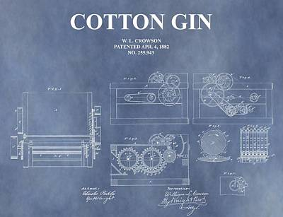 Antique Cotton Gin Patent Poster by Dan Sproul