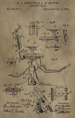 Antique Dental Chair Patent Poster by Dan Sproul