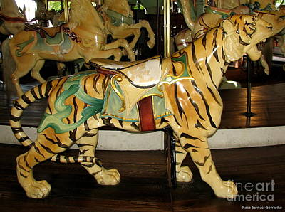 Poster featuring the photograph Antique Dentzel Menagerie Carousel Tiger by Rose Santuci-Sofranko
