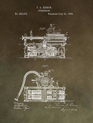 Antique Edison Phonograph Patent Restored Poster by Dan Sproul