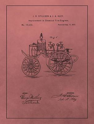 Antique Fire Engine Patent On Red Poster by Dan Sproul