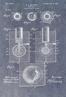Antique Golf Ball Patent Poster