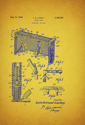 Antique Hockey Goal Patent Poster by Mountain Dreams