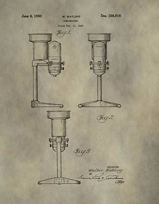 Antique Homogenizer Patent Poster by Dan Sproul