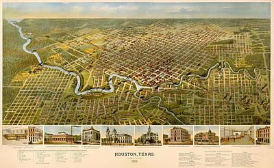 Antique Illustrative Map Of Houston 1891 Poster