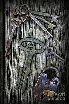 Antique Keys And Padlock Poster