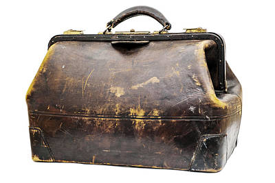 Antique Leather Traveling Case Poster by Donald  Erickson