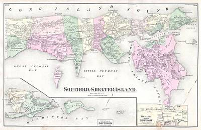 Antique Long Island Map Poster by Dan Sproul