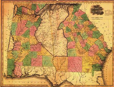 Antique Map Of Alabama And Georgia 1823 Poster
