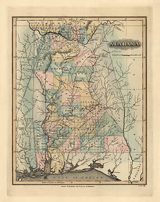 Antique Map Of Alabama By Fielding Lucas - 1826 Poster by Blue Monocle