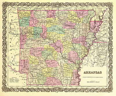 Antique Map Of Arkansas 1855 Poster by Mountain Dreams