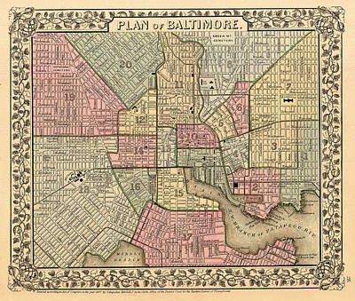 Antique Map Of Baltimore 1867 Poster