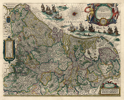 Poster featuring the drawing Antique Map Of Belgium And The Netherlands By Willem Janszoon Blaeu - 1647 by Blue Monocle