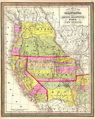 Antique Map Of California And The Territories Of  Oregon Washington Utah New Mexico 1853 Poster by Mountain Dreams