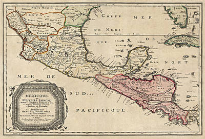 Antique Map Of Central America By Nicolas Sanson - 1656 Poster by Blue Monocle