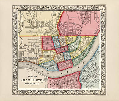 Antique Map Of Cincinnati Ohio By Samuel Augustus Mitchell - 1863 Poster by Blue Monocle