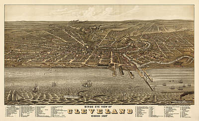 Antique Map Of Cleveland Ohio By A. Ruger - 1877 Poster