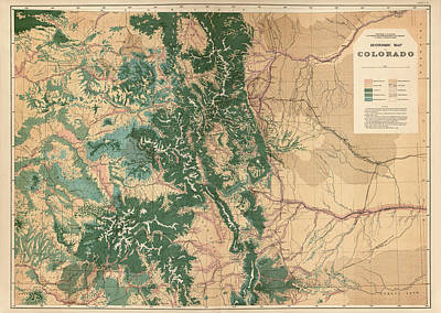 Antique Map Of Colorado - 1877 Poster