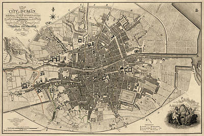 Antique Map Of Dublin Ireland By William Faden - 1797 Poster