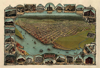 Antique Map Of Eureka California By Noe And Georgeson - 1902 Poster by Blue Monocle